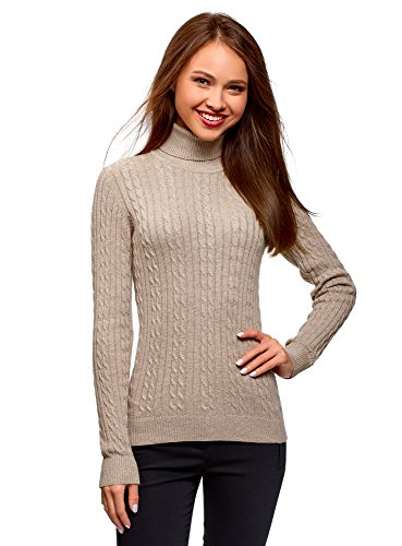 oodji Collection Women's Textured Cable Knit Pullover, Beige, US 2 / EU 36 / XS