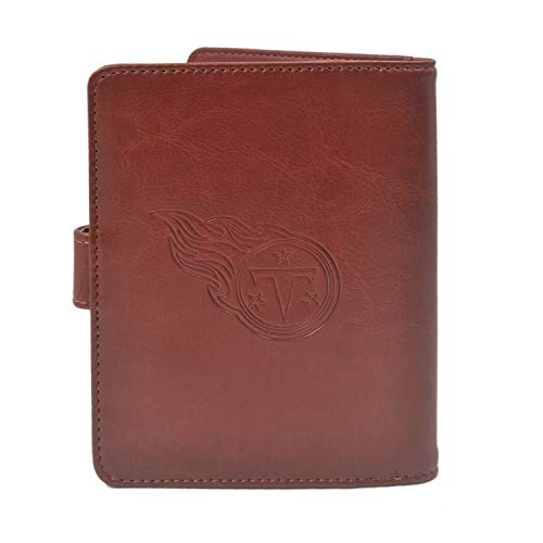 CHNNFC NFL Premium Brown Leather Laser Carving Travel Wallet (Tennessee Titans)