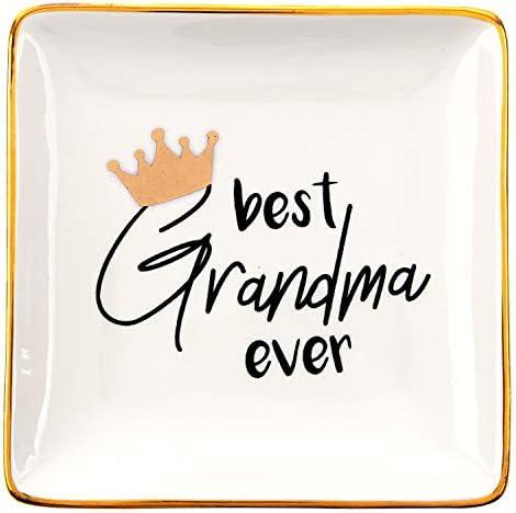 RELISSA Birthday Gifts for Grandma Ring Trinket Dish, Jewelry Tray, Ring Holder – Best Grandma Ever