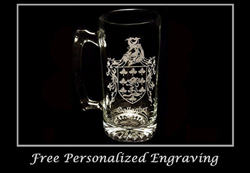 Beer Stein History (Gallagher Irish Family Coat of Arms 27oz Beer Stein: Free Shipping & Personalized Engraving, Family Crest, Etched Clan Crest)