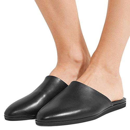 15 Toe Mules Black Round Sandals Flats Comfortable Walking Shoes Low US Size FSJ Casual 4 Heel Women 4q6tFxU