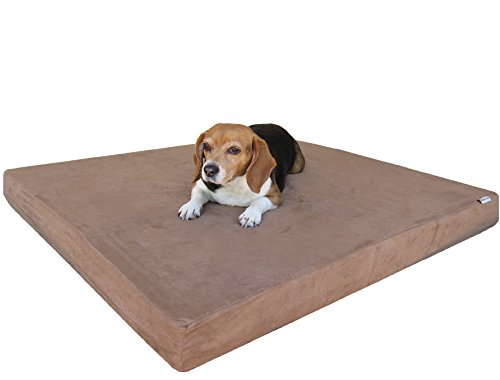 Dogbed4less Heavy Duty Orthopedic Memory Foam Pet Bed Waterproof Internal Case + 2 Washable Microsuede External Cover Medium Large Dog