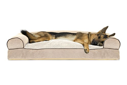 FurHaven Pet Dog Bed | Faux Fleece & Chenille Soft Woven Pillow Sofa-Style Couch Pet Bed for Dogs & Cats, Cream, Jumbo ()
