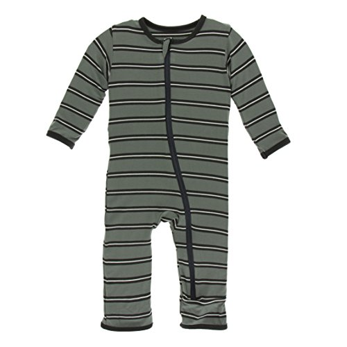 Kickee Pants Little Boys Print Coverall with Zipper - Succulent Kenya Stripe, 9-12 Months