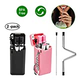 Collapsible Straws Reusable Stainless Steel Folding Drinking Straws Portable Set Food-Grade Silicone 2 Pack Drinking Straws for Kitchen Dining Household Outdoors and Travel(Black&Pink)