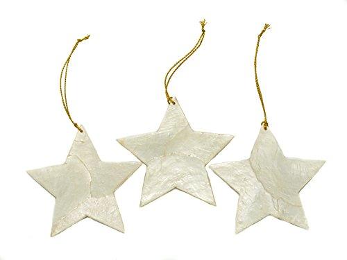 Capiz Christmas Star | Star Ornament 3 Pack | Ornament for Arts, Crafts and Decor | Nautical Crush Trading TM (Capiz Ornaments Christmas)