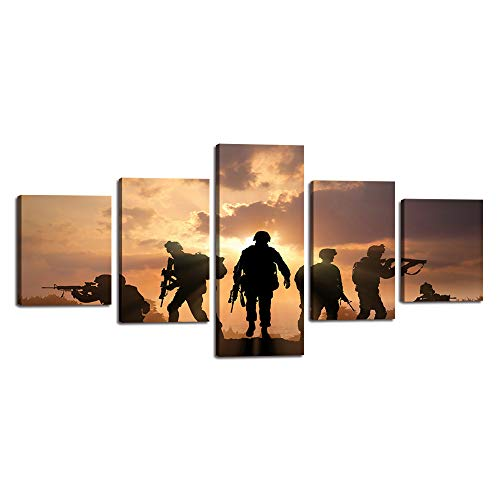 Yatsen Bridge Modern Canvas Painting American Soldiers Picture Printing On Canvas for Living Room Stretched and Framed 5 Piece/Set Giclee Artwork Wall Art for Home Decor Ready to Hang (50''W x 24''H)]()