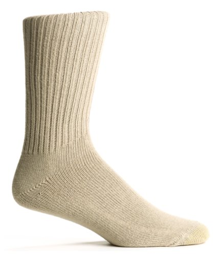 Gold Toe Men's Cotton Fluffies Casual Sock, Khaki, 10-13 (Shoe Size 6-12.5)