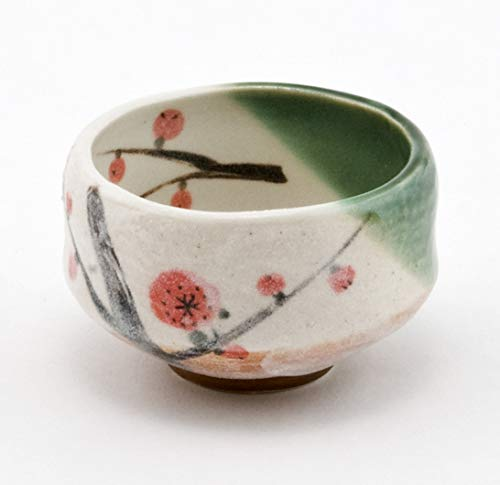 Authentic Japanese Traditional Tea Ceremony Matcha Bowl Chawan Textured Glaze Floral Design Handcrafted in Japan (Plum Blossom) by Hinomaru Collection (Image #3)