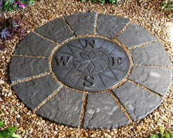 Stein Beton Kompass Rotunda Terrasse Pflastersteine Set 1 2 Meter