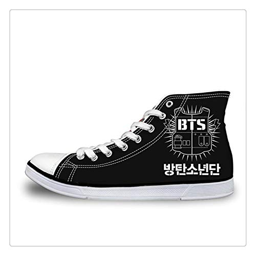 Fashion Kpop BTS Print High top Canvas Shoes Women Classic Lace-up Vulcanize Shoes Girls Leisure Sneakers Shoes Girl H9706AK 45