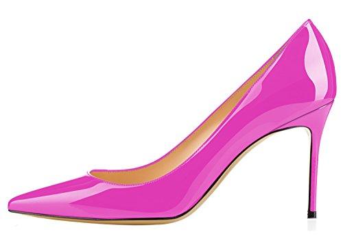 Guoar Donna Sexy Scarpe A Punta Scarpe Basse Altezza Tacco 8,5 Cm Rosa Rosso