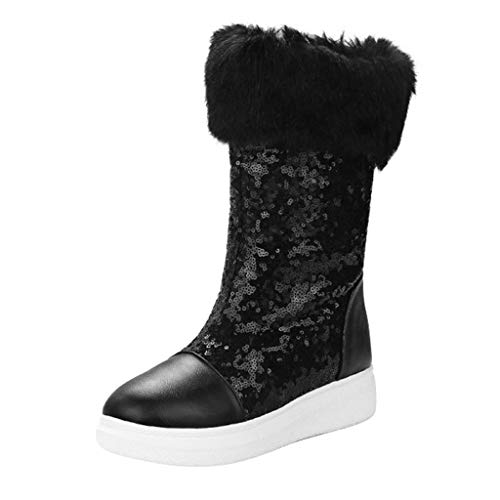 Midress Women Girls Snow Boots Winter Warm Ankle Boots Sequins Flat Heel Fur Lined Comfortable Booties Shoes