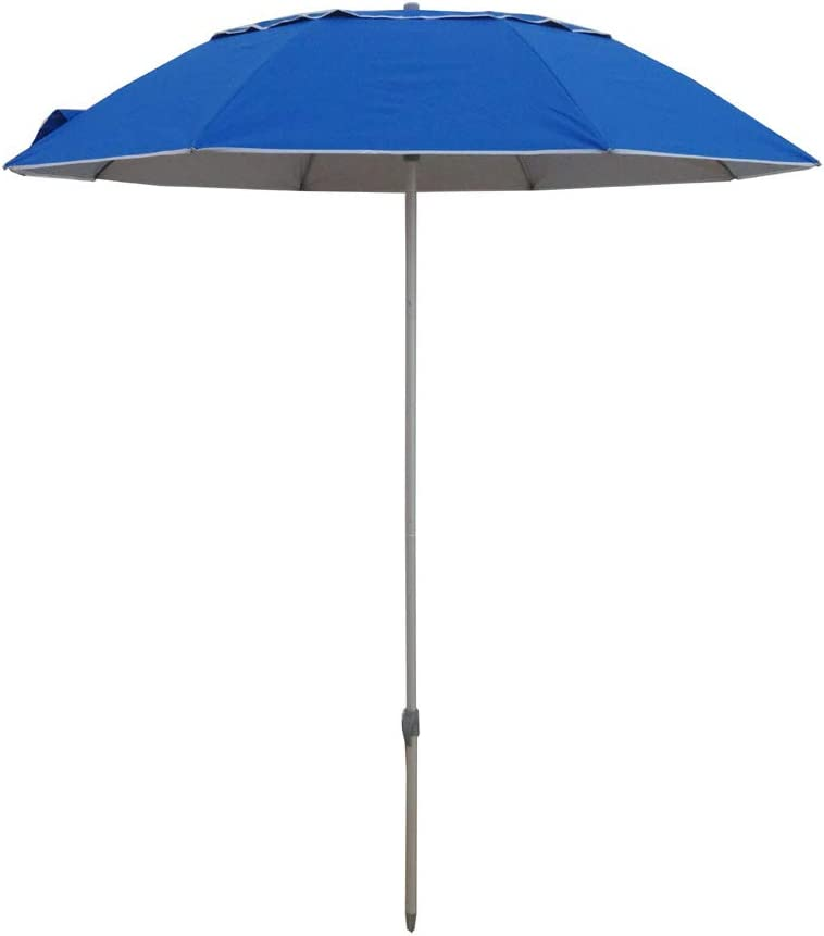 Travel Beach Umbrella for Cruise, Airplane, Train, Small Car Vented Canopy Portable Camping Umbrella Silver Coating Inside with 99 UV Protection 5.5 FT, Blue