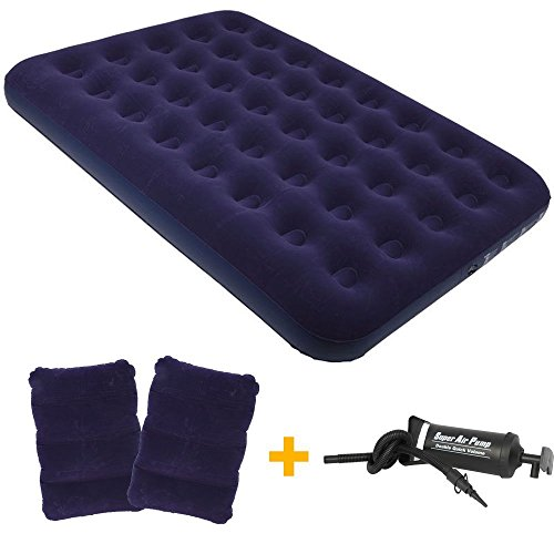 OJA Classic Downy Queen Size Air Mattress, Inflatable Airbed with 2 Pillows & Hand Pump(Blue)