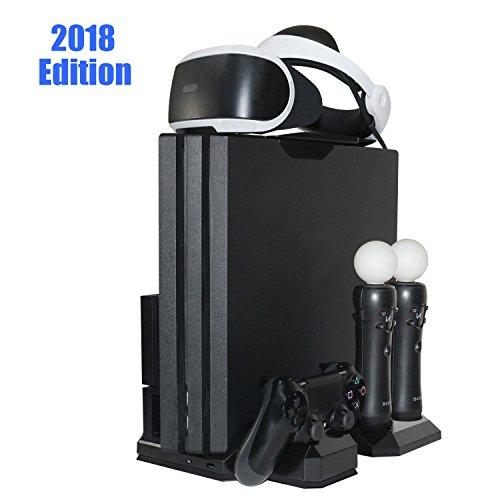 Charger & Vertical Display Stand - Multi Charging Station, Cooling Fan Cooler, PSVR Glasses Holder Bracket for PlayStation PS VR Headset, PS4, Pro, Slim Console, DualShock 4 & Move Motion Controller (Twin Bracket Slot)