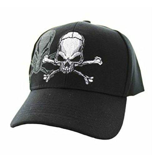 Skull & Crossbones Cap w/ Shadow, Adjustable 3D Embroidery Baseball Cap Hat by SunGal