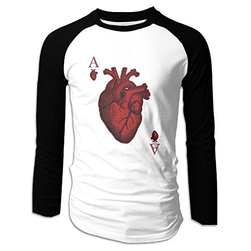 Creamfly Mens Ace Of Hearts Long Sleeve Raglan Baseball Tshirt L