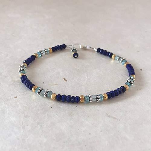 (Lapis Lazuli Apatite Aquamarine Karen Hill Tribe Thai Silver and Gold Beaded Bracelet, Sundance Style, Dainty Bracelet, Layering Bracelet 3-5mm by Gemswholesale)
