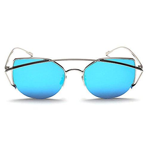 Full Eyes Libre Graceful Gu Vacaciones Rimmed Mujeres Azul para Conducción Marrón de la Peggy Verano al para Gafas Color Cat Playa Protección de Aire Sol UV Metal WYxRwn