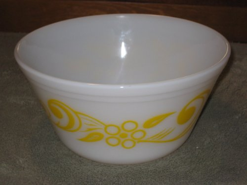 Vintage Federal Glass Retro Milk Glass w/ Yellow Flower Mixing Nesting Batter Bowl - 9 x 5 1/2 Inch