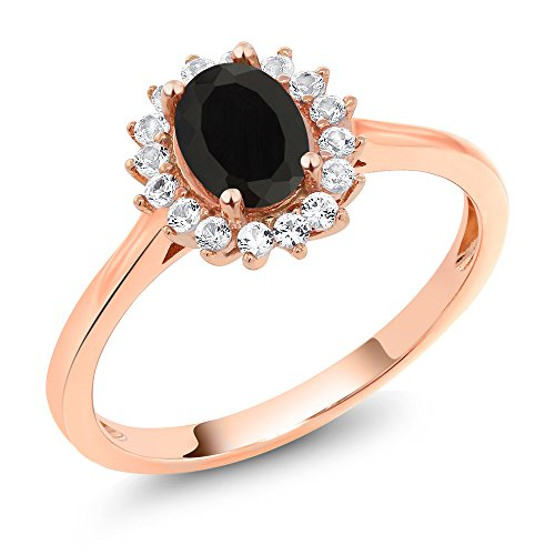 (Gem Stone King 10K Rose Gold 1.04 Ct Oval Black Onyx White Created Sapphire Ring (Size 6))