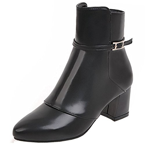 Women Black Boots Booties COOLCEPT Zipper Fashion 0xwqadaA