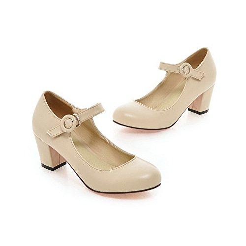 Balamasa Donna Tacco Grosso Fibbia Tomaia Bassa Imitato Scarpe-scarpe In Pelle Beige