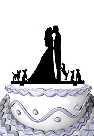 Amazon Com Meijiafei Wedding Cake Topper Silhouette Groom And Bride