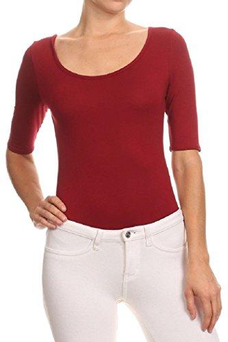 MIDNIGHT LOVERS Womens Solid 3/4 Sleeve Scoop Neck Low Back Bodysuit Leotard (Burgundy, X-Large)