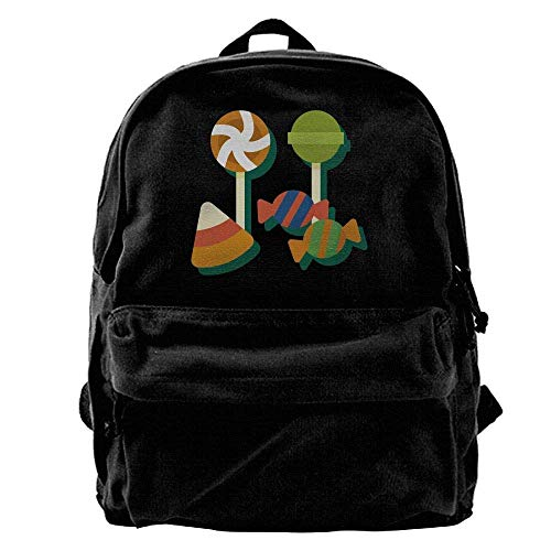 Unisex Classic Canvas Backpack Halloween Safe Candy Unique Print Style,Fits 14 Inch Laptop,Durable,Black -