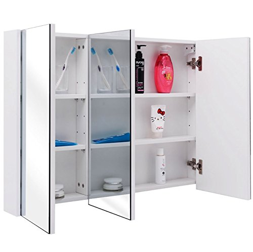 36'' Wide 3 Mirror Wall Mounted Bathroom Mirrored Cabinet Medicine Toiletries Storage Cabinet Compartments Organizer Large Storage Space Above Sink Kitchen And Bathroom Use Modern And Stylish