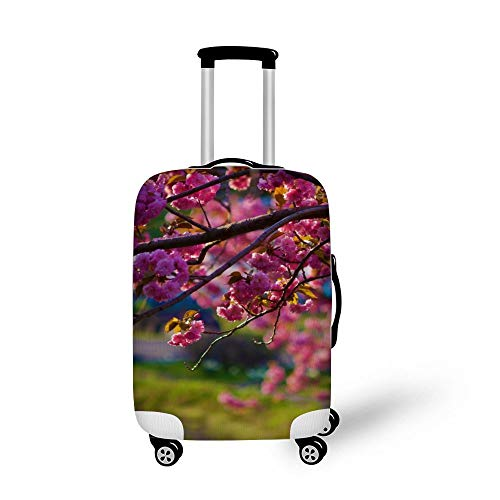Flowers Nature Pink Trees Fashionable Baggage Suitcase Protector Travel Luggage Cover Anti-Scratch