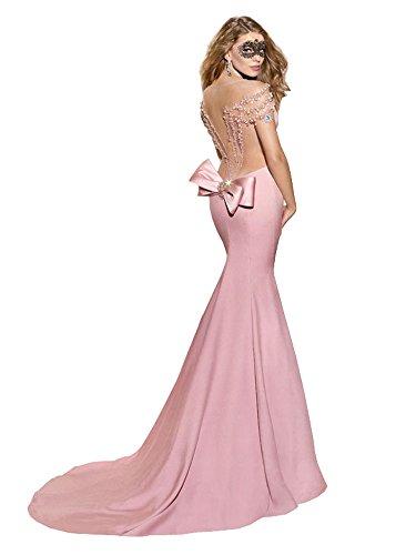 Sirena La Manga Boda De Vestido Rosa Capilla Transparente Del Tizón Sin Casquillo Espalda qXwrSxq