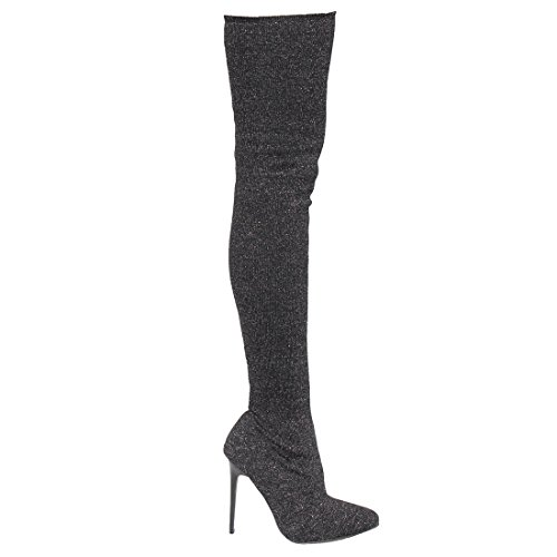 Beston EK34 Damen Stretchy Snug Fit Socke Oberschenkel hohe Stiefel halbe Größe klein Schwarz