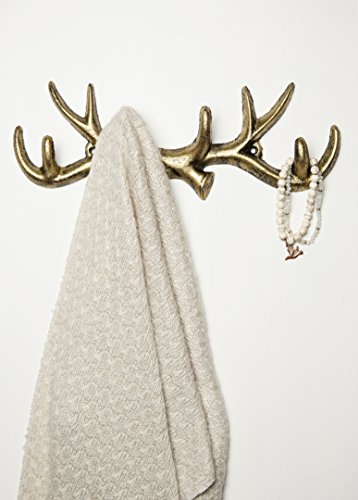 Vintage Cast Iron Deer Antlers Wall Hooks by Comfify | Antique Finish Metal Clothes Hanger Rack w/ Hooks | Includes Screws and Anchors - Nature Wall Hook