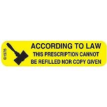 "PHARMEX 1-12G Permanent Paper Label, ""NO REFILL OR COPY"", 1 9/16"" x 3/8"", Yellow (500 per Roll, 2 Rolls per Box)"