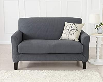 Great Bay Home 2 Piece Spandex Fabric Slipcover. Ultra Soft and Durable, Stretch Furniture Cover/Protector, Stays in Place. Analise Collection