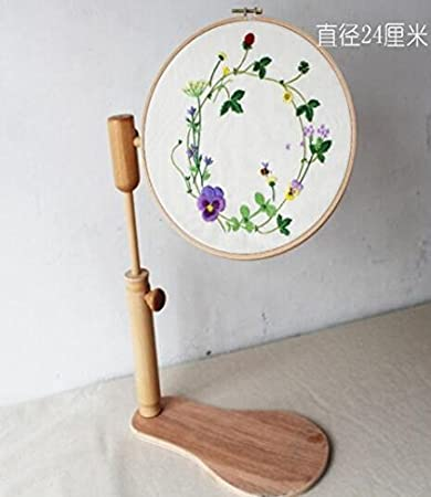 amazoncom wrmhom sit on round embroidery lap frame dia24cm high adjustable solid wood cross stitch rack wooden stand desk standing embroidery frame - Embroidery Frame