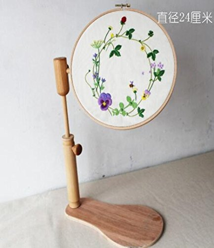 WRMHOM Sit-On Round Embroidery Lap Frame Dia24cm High Adjustable Solid Wood Cross Stitch Rack Wooden Stand Desk Standing embroidery Frame Chinese Embroidery frame Kit by WRMHOM