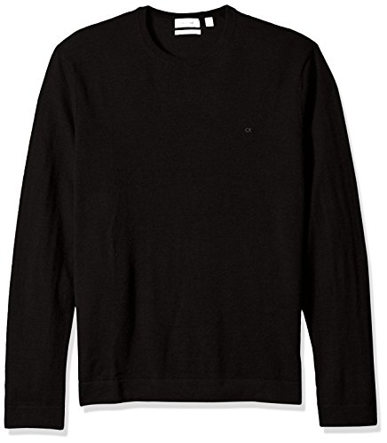 (Calvin Klein Men's Merino Tipped Crew Neck Sweater, Black, LARGE)
