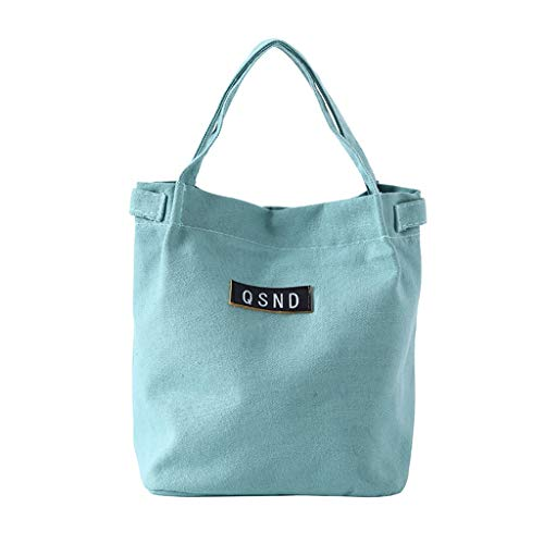 telaite Fashion Solid Color Multifunctional Portable Lunch Box Insulated Lunch Bag Canvas Tote(Green)