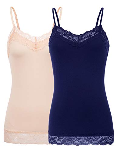 2 PCS Stretchy Lace Camisole with Adjustable Strap for Women(XL,Pack-Navy/Apricot)