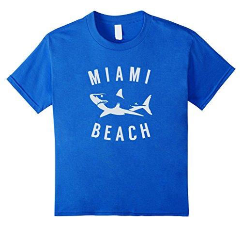 Beach Kids T-shirt (Kids Miami Beach Florida T Shirt Shark FL Souvenirs 8 Royal Blue)