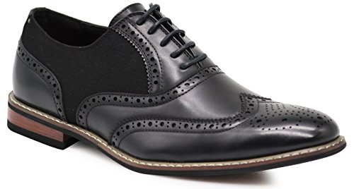 Wood10 Men's Colonial Spectator Two Tone Grand Wingtips Oxfords Perforated Lace Up Dress Shoes (10.5, Black)]()
