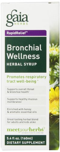 Gaia Herbs Bronchial Wellness Herbal Syrup, 5.4 Ounce – Soothing Support for Throat and Respiratory Health with Eucalyptus Essential Oil, USDA Organic