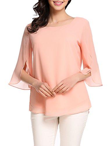 Color Chiffon Blouse - ACEVOG Women's Solid Color 3/4 Sleeve Chiffon Blouse Tops (Nude, Medium)