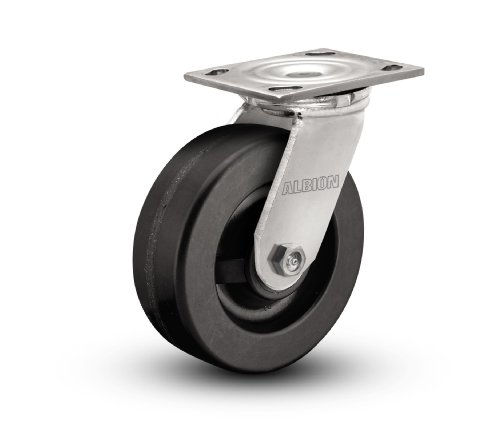 Nylon Retaining Washers - Albion 16 Series Medium Heavy Duty Zinc Swivel Plate Caster, Roller Bearing, 5