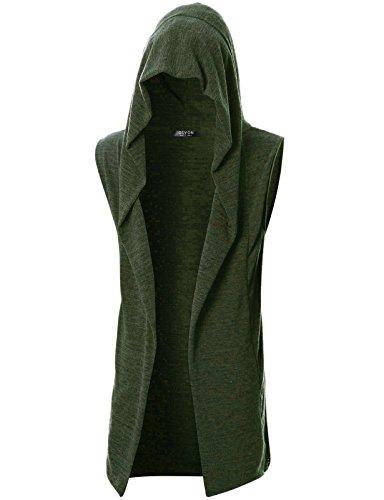 GIVON Mens Sleeveless Lightweight Ruffle Shawl Collar Cardigan with Pockets/DCC046-KHAKI-M by GIVON