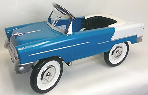 55 Classic Pedal Car in Aqua and White. All Steel with Black Padded Seat